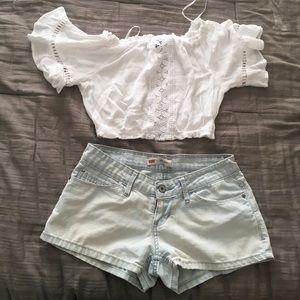 Crop lace shirt sleeve top